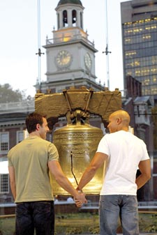 Gay 'Liberty' in Philadelphia: couple at the Liberty Bell