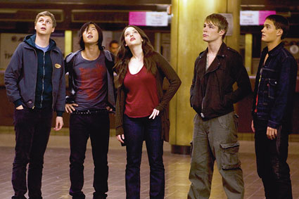 Teenage waist-land:(L to R)Cera, Yoo, Dennings, Jonathan Wright, and Gavron
