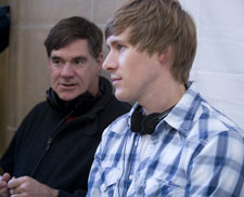Director Gus Van Sant (left), Screenwriter Dustin Lance Black (right) on the set