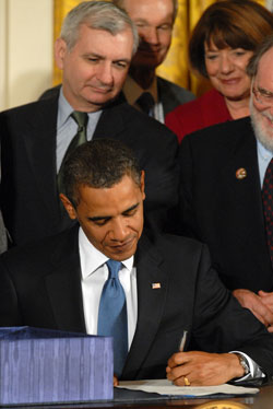 President Barack Obama signs the Matthew Shepard and James Byrd Jr. Hate Crimes Prevention Act into law.