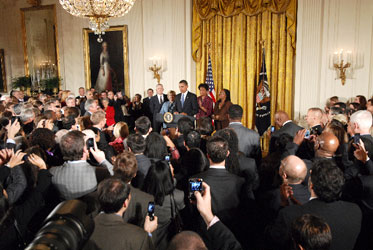 President Obama speaks at a reception marking the enactment of LGBT inclusive hate crimes legislation.