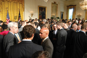 Awaiting the arrival of President and Mrs. Obama at the White House LGBT reception
