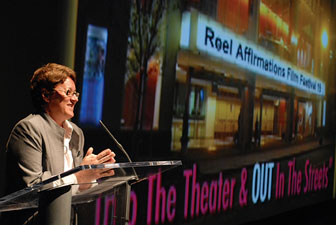 Margaret Murray addresses the opening night crowd at Reel Affirmations 19