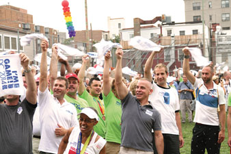 Participants at August's Gay Games Rally at Stead Park