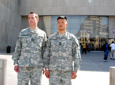 James Pietrangelo and Dan Choi after pleading ''not guilty'' at D.C.  Superior Court