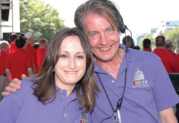 Bill Miles (r) with Jennifer Hall at the 2009 Capital Pride Festival.