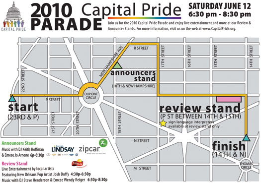2010 Capital Pride Parade Map