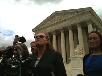Margie Phelps of the Westboro Baptist Church speaks to reporters outside the U.S. Supreme Court on Wednesday