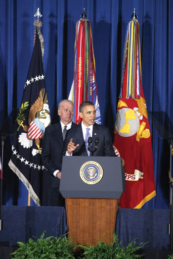 President Barack Obama with Vice President Joe Biden [left]