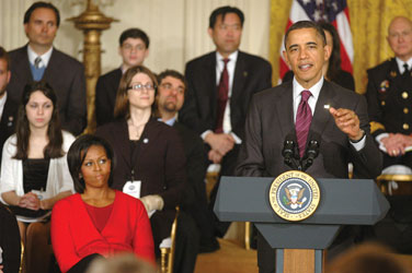 President Obama addresses attendees of the White House Bullying Prevention Conference on March 10