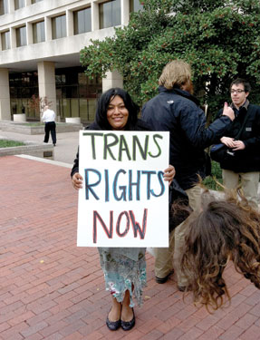 Ruby Corado at Transgender Day of Action protest