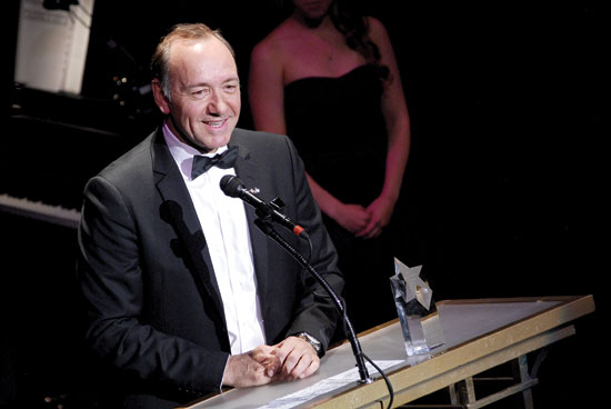 Photo caption: Kevin Spacey accepts a special Helen Hayes Award at Monday's event