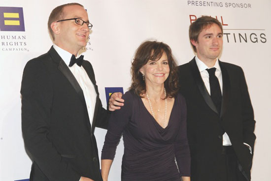 Chad Griffin with Sally Field and her son Sam Greisman