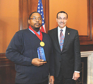 Leo Johnson and Mayor Gray