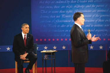 Obama and Romney at the second Presidential debate