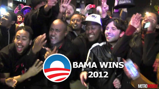 Voters celebrate Barack Obama's re-election.