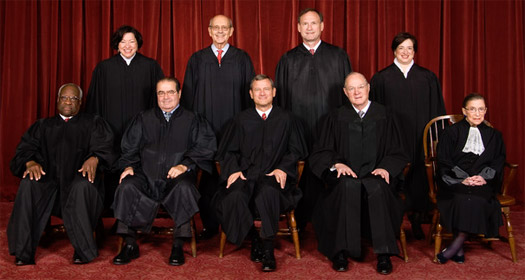 Supreme Court: (L to R) Thomas, Sotomayor, Scalia, Breyer, Roberts, Alito, Kennedy, Kagan and Ginsburg