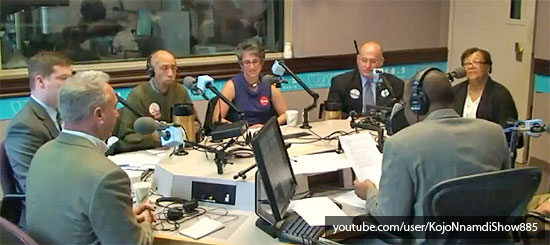 Perry Redd (third from left) and Anita Bonds (right) on the WAMU's Kojo Nnamdi Show