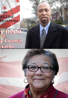 Portraits of Perry Redd and Anita Bonds from their campaign sites