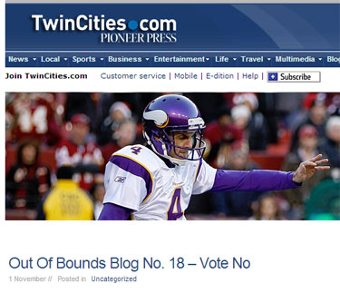 Chris Kluwe blog at Pioneer Press