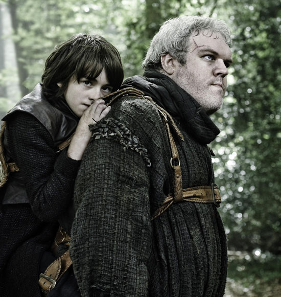 Issac Hempstead-Wright with Kristian Nairn as Bran Stark and Hodor, by Helen Sloan / HBO