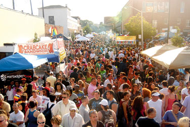 View of Block Party along Eager Street, with Hippo on the near left, and City Cafe on far center right.
