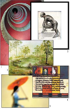 Works by 1. David Amoroso, 2. Mireya Perez-Power, 3. Rob Kleinsteuber, 4. Steven Munoz and 5. Jennifer Leeman.