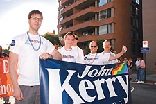 Marching for Kerry: Thomas Otto, far left, at the 2004 Capital Pride parade.  Photo by Randy Shulman