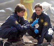 Millegan (left) in a scene from 'Bones'