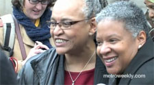 Darlene Garner and Candy Holmes are among the first gay couples to receive a marriage license in DC Photo by Aram Vartian