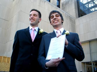 James Betz (left) and Rob Hawthorne married at the D.C. Courthouse Photo by Yusef Najafi/Metro Weekly