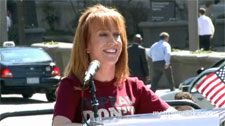 Kathy Griffin on Freedom Plaza speaking against DADT Photo by Aram Vartian