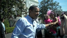 Barack Obama shaking hands with participants of the 2010 White House Easter Egg Roll Photo by Chris Geidner