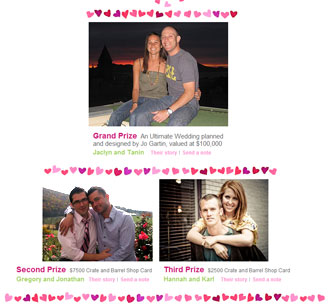 Screen shot of winners from Crate & Barrell's ''Ultimate Wedding Contest''