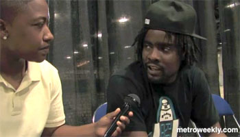 Wale (right) speaking with Metro Weekly reporter Ebone Bell Photo by Aram Vartian