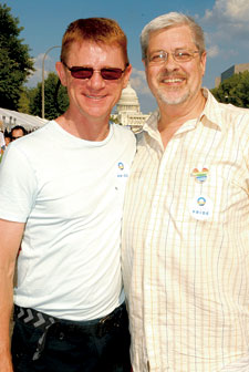 Deacon Maccubbin (r) with Jim Bennett at the 2008 Capital Pride Festival. Photo by Ward Morrison.