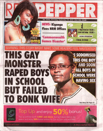 Uganda's Red Pepper uses front page to attack gay asylum seeker
