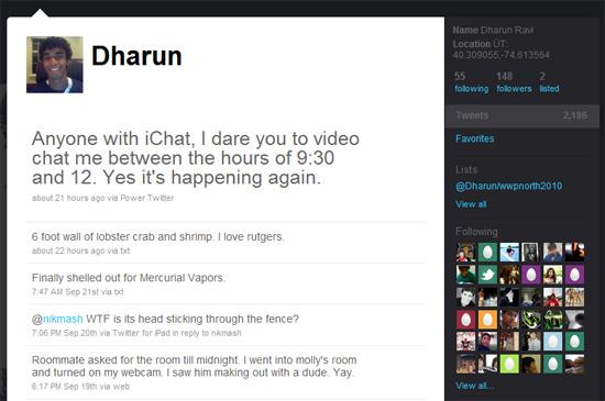 Dharun Ravi Twitter page