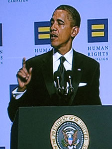 Barack Obama at HRC National Dinner Photo by Aram Vartian