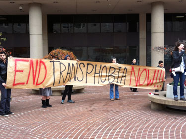 Transgender Day of Action protesters in front of U.S. Attorney's Office for D.C. Photo by John Riley