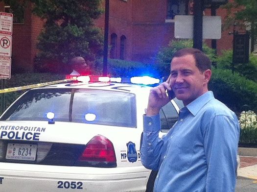 HRC President Joe Solmonese waits as police inspect HRC headquarters Photo by Will O'Bryan
