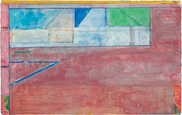 Richard Diebenkorn, Untitled #26, 1984. Gouache, acrylic, and crayon on joined paper, 24 x 38 inches. (61 x 96.5 cm) Private Collection. © The Richard Diebenkorn Foundation.   Photo by