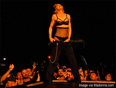 Madonna on stage for her MDNA tour Photo by via Madonna.com
