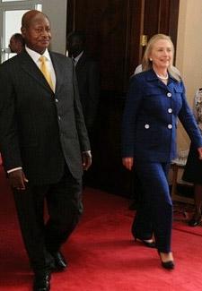 Hillary Clinton with Uganda's President Hillary Clinton