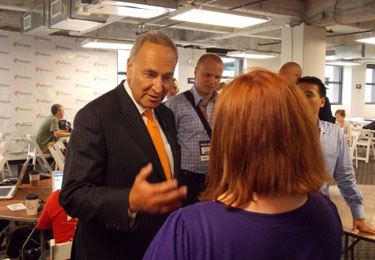 Chuck ShumerNew York Sen. Chuck Schumer speaks with a blogger at Charlotte's Democratic National Convention Photo by Matt Comer/QNotes