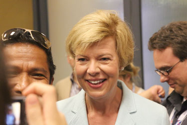 Rep. Tammy Baldwin (D-Wisc.) addresses the Democratic Convention LGBT Caucus Sept. 4. Photo by David Lari/QNotes