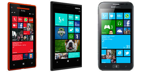 HTC 8X, Nokia Lumia 920 and Samsung ATIV S Photo by