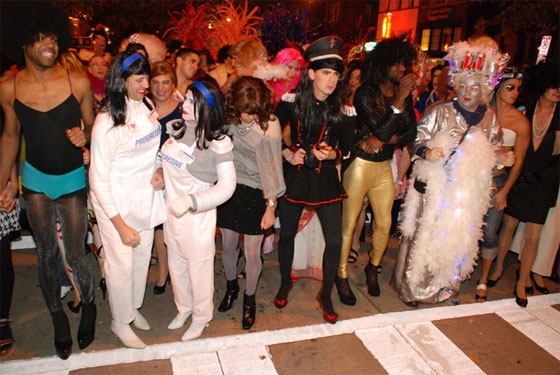 High Heel Race participants ready for the 9 p.m. run down 17th Street Photo by Ward Morrison