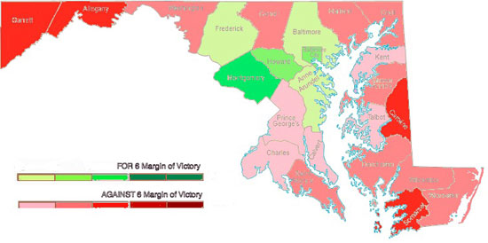 Map of Maryland Counties that voted FOR and AGAINST Question 6 to approve Marriage Equality Photo by