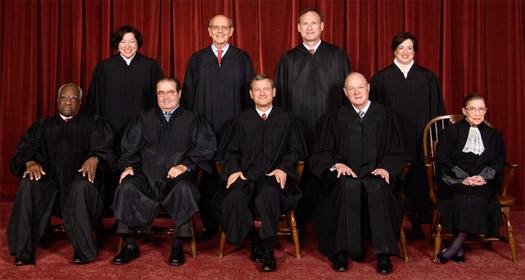 Supreme Court: (L to R) Thomas, Sotomayor, Scalia, Breyer, Roberts, Alito, Kennedy, Kagan and Ginsburg Photo by